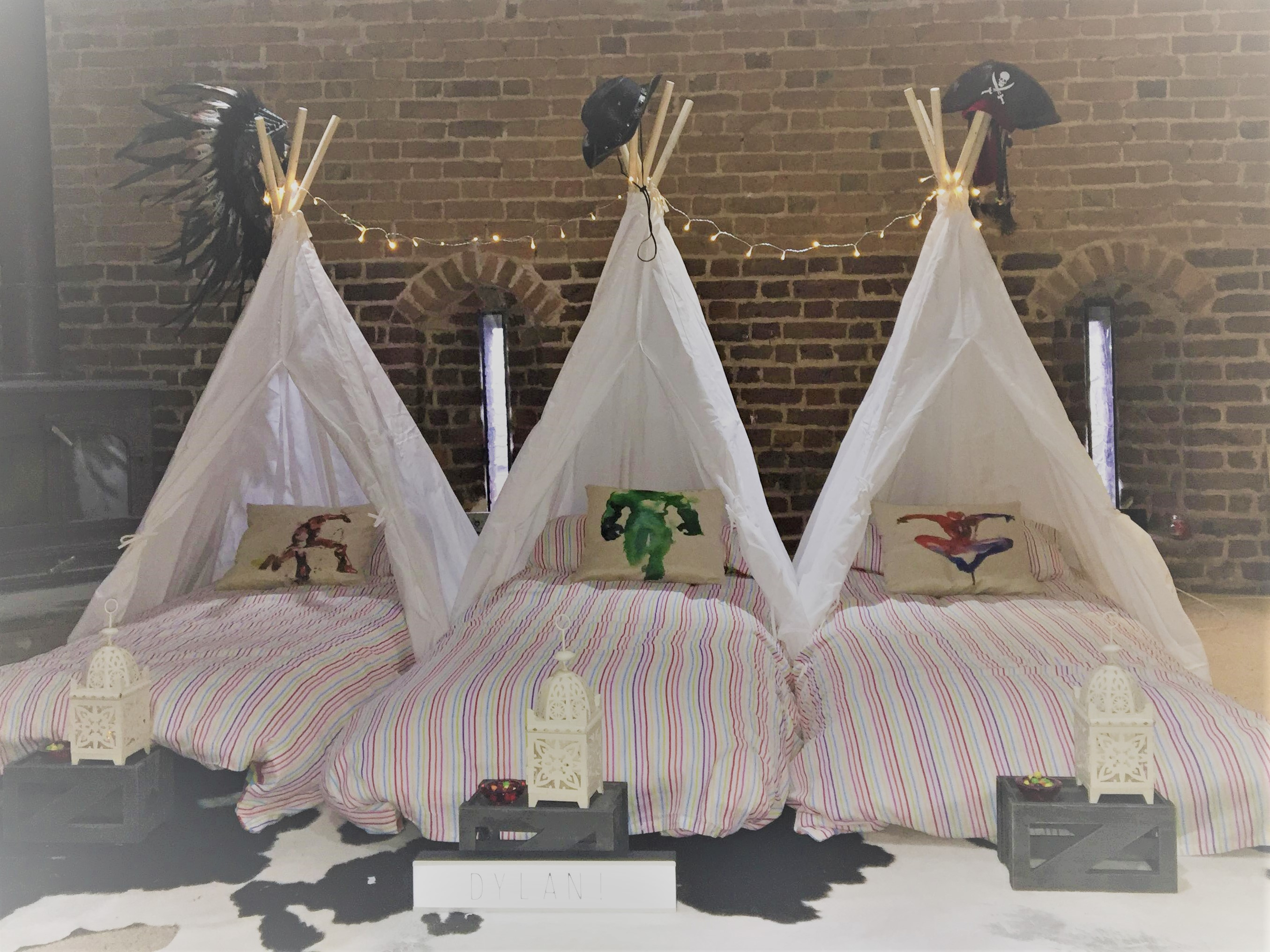 inside tipis with boys decorations
